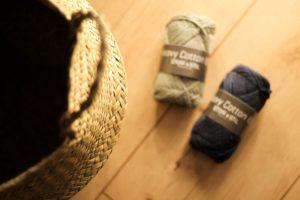 Bommelkorb, basteln, Seegraskorb