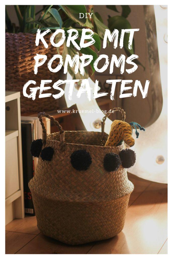 DIY: Korb mit Pompoms gestalten_Pinterest